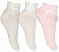 Girls Cream White & Pink Jester Frilly Lace Socks Pack of 3 or 1 Pair