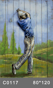 Novelty New 3d Golfer wall decor framed Metal Wood painting wall hanging Gift