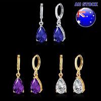 Wholesale 18K Gold Filled Cubic Zirconia Crystal Tear Drop Dangly Hoop Earrings