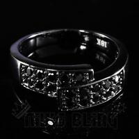 18K Black Gold Iced Out MICROPAVE Engagement Band CZ HipHop Men Women Pinky Ring