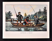 Currier & Ives Print - Catching a Trout Fly Fishing in Boat Catch Fishermen Fish
