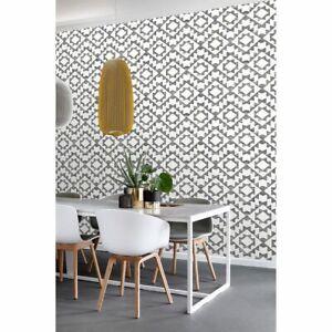 Fantine Black Geometric Wallpaper Modern Aztec Boho Style Wallcovering