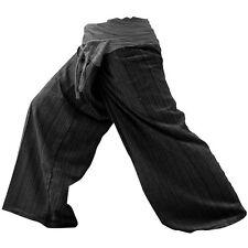 NEW Thai Fisherman Pants Gray Charcoal Yoga Trousers Cotton Unisex Women's Men's