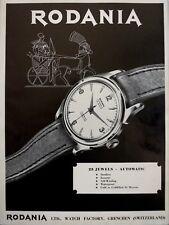 vintage 1954 print ad RODANIA AUTOMATIC Swiss Suisse watch MID CENTURY ART