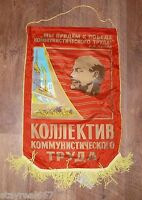Soviet Russian Red Lenin Pennant Flag Winner Of Socialism Laborers ! 26 inches !