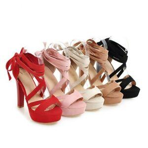 5 Colors Wedding Bridal Shoes Women Ladies High Heel Hollow Out Sandals Party D