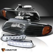 96-00 Caravan Chrysler Town & Country Voyager Black Headlights+LED Fog Lamps