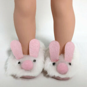 """Bunny Slipper Shoes fits 14.5"""" American Girl Wellie Wishers Wisher Doll Clothes"""