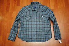 WOMEN'S NWT PENDLETON WOOL FITTED SNAP BOARD SHIRT SLATE BLUE PLAID CHECK XL