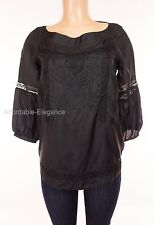 MOSCHINO Cheap And Chic Blouse M Medium Black 100% Silk Lace Floral Jacquard Top