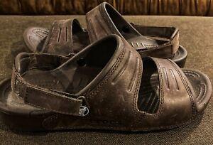 Crocs Yukon Leather Clogs Sandals Mens 10 Mahogany Brown Adjustable Shoes EUC