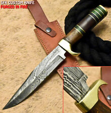 SFK Hand Forged Damascus Steel Walnut Wood Hunting Bowie Knife