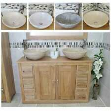 Bathroom Vanity Unit | Solid Oak Cabinet Wash Stand with Stone Basin 02BSBCX2