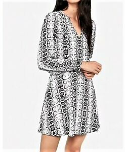 Express XS Snakeskin Print Fit and Flair Smocked Sleeve Dress NEW
