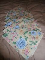 "VINTAGE Lot (8) Table Napkins Yellow Spring-Time Floral Design 17"" Square     58"