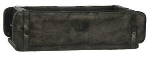 Ziegelform Holzkiste mit Metallbeschlägen Schwarz 31x15x9 cm Aufbewahrung Box