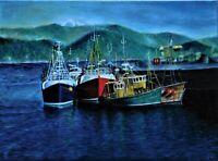 "Original oil painting, harbor scene, signed, by Nalan Laluk: ""Scottish Harbor"""
