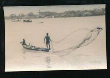 Vietnam BANKOK Throwing Fishing Nets c1920s? RP PPC