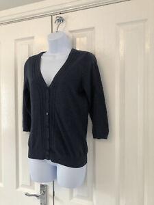 Ladies Fat Face Cardigan Size 12 Navy 100% Cotton
