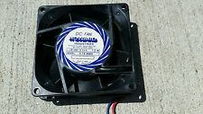Fan 80mm x 25mm thk New 12VDC 0.14A Howard Industries 3-15-8303 2-wire Quiet