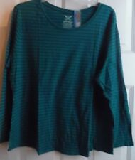 FADED GLORY TEAL STRIPE LONG SLEEVE BLOUSE CREW NECK COTTON POLY 5X 30W 32W