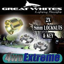 2x 8MM LOCKNUTS & KEY TO SUIT GREAT WHITES LED SPOT LIGHTS L.E.D LIGHT LOCK NUTS