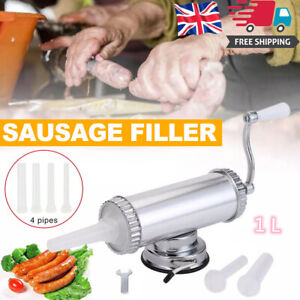 Manual Horizontal Sausage Stuffer Filler Maker Homemade 2lbs /1L Stainless Steel