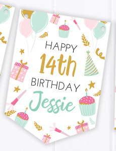 Personalised Happy Birthday Bunting, Party Decoration Banner, Any Age, Teenager