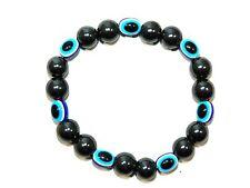 B-0260 - 10mm Magnetic Hematite Gemstone & Lucky Evil Eye Handmade Bracelet
