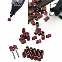 50pcs Drum Sanding Bands Sleeves Mandrel 80/150/180/240/320 Grit Polishing Kit