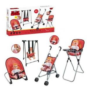 Baby Doll Play Set 4Pcs Stroller , Bouncer, High Chair, Swing & Doll with Sounds