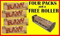 4 PKS RAW 1.25 CLASSIC Cigarette rolling papers+79mm Hemp plastic ROLLER MACHINE