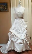David's Bridal Oleg Cassini Strapless Beaded Wedding Gown Champagne Runched 4P