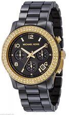 Michael Kors Watch Gold Tone Swarovski Crystal Bezel Black Ceramic Band Mk5270