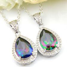 Wholesale set Rainbow Mystic Fire Topaz Gemstone Silver Drop Necklace Pendants