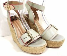 POUR LA VICTOIRE WOMEN'S PLATFORM Wedges Blue Tan LTHR US SZ 6M buckle *1008