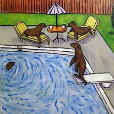 Sea lion pool party art Print on Modern ceramic Tile coaster gift Jschmetz folk