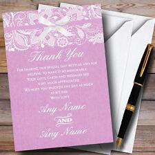 Vintage Dusky Pink Rose Burlap & Lace Personalised Wedding Thank You Cards