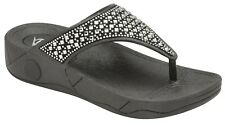 Ladies Dunlop Low Wedge Fit Flip Flop Toe Post Crystal Sandals Slippers Size 3-8