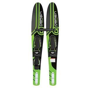 "OBrien 54"" Jr. Vortex Combo Water Skis w/ Bindings for Kids, Green (Open Box)"