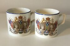 Pair of Vintage King George V & Queen Mary Silver Jubilee Mugs