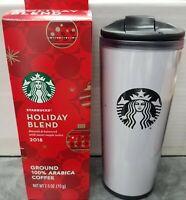 16 Oz. Starbucks Plastic Travel Mug Tumbler White with Logo 100% Authentic