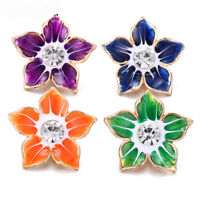 5X Flower Crystal Chunk Charm Snap Button Fit 18mm Drill Noosa Jewelry Gift