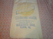 ANTIQUE VINTAGE GROWING MASH WOLGEMUTH BROS FLORIN MT JOY PA 100 LBS SACK BAG