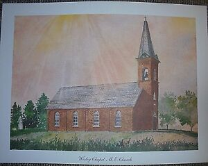 """Wesley Chapel M.E. Church, old brick country by Marge Brandt, 10 1/2"""" x 14 1/2"""""""