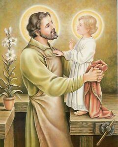 St Saint Joseph encadr/ée Bois Cadre Photo Finition Acajou 25/cm 30/cm avec en /étain Amour Double c/œur en /étain Token 8320
