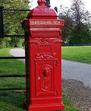 Large Cast Aluminium Royal Red Pillar Mail Post box, Letter Box Victorian style