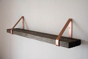 Black Rustic Chunky Solid Wood Wall Shelf w/ Copper Triangle Brackets - 14.5cm D