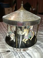 VINTAGE ANTIQUE  RARE MIRRORED MUSICAL CAROUSEL WITH 4 PORCELAIN HORSES