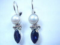 Faceted Iolite and Cultured Pearl 925 Sterling Silver Wire Back Earrings